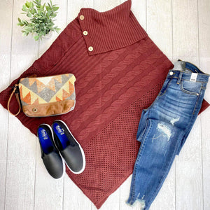 Button Accent Poncho - Burgundy