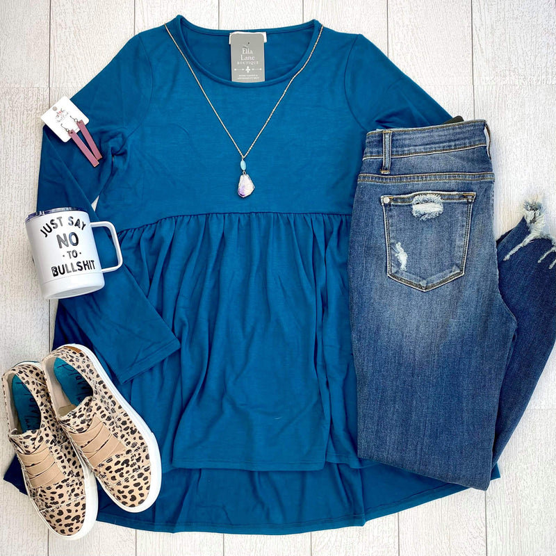 Long Sleeve Peplum Top - Teal Blue