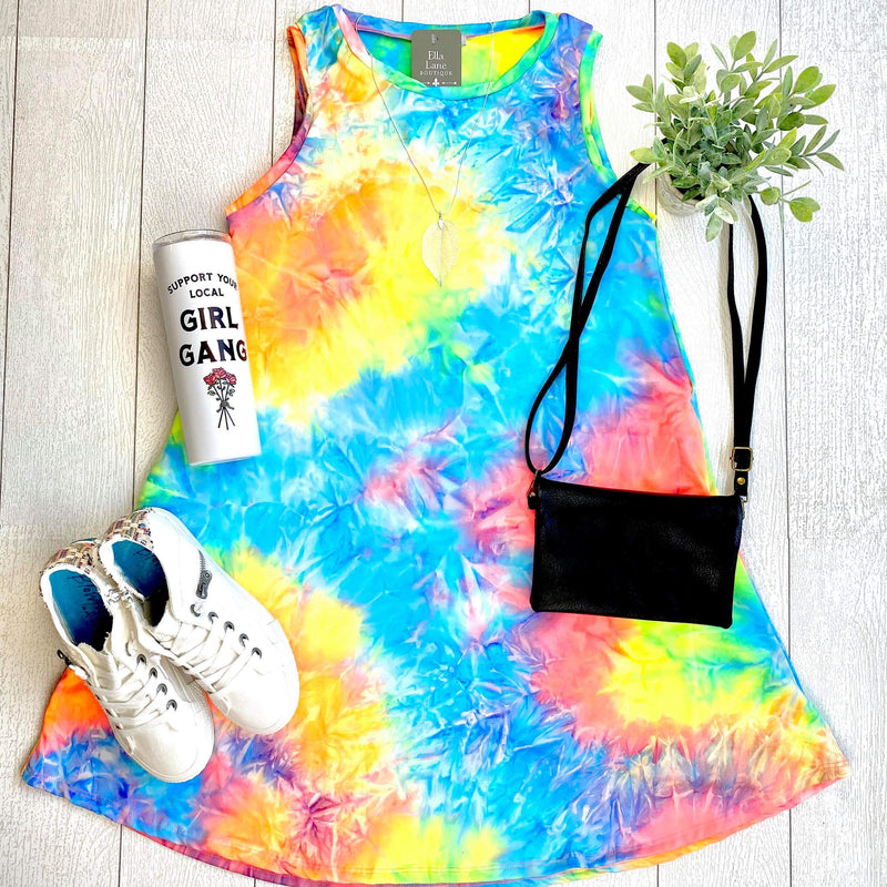 Sleeveless Tie Dye Dress - Neon