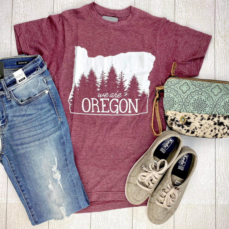 DOORBUSTER We Are Oregon Fundraiser Unisex Tee - Heather Burgundy IN STOCK FINAL SALE