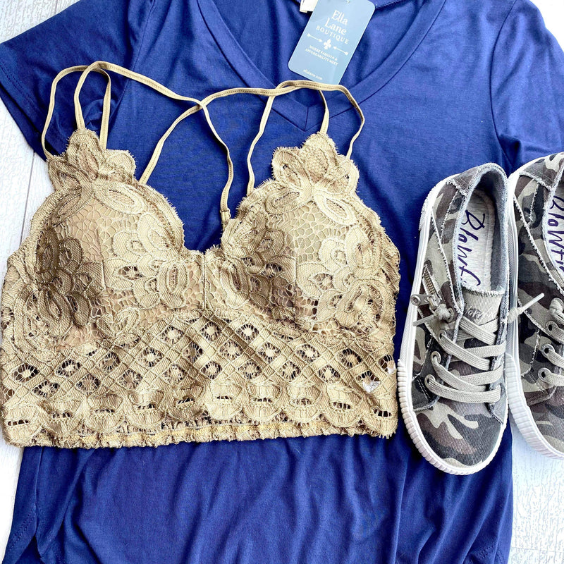 Criss Cross Lace Bralette - Golden Brown