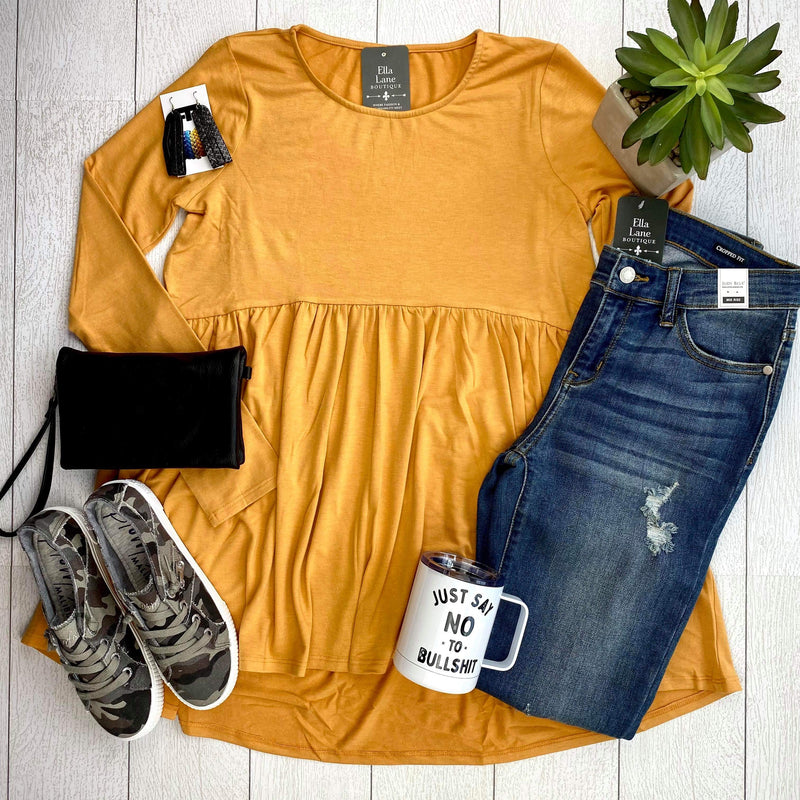 Long Sleeve Peplum Top - Ash Mustard