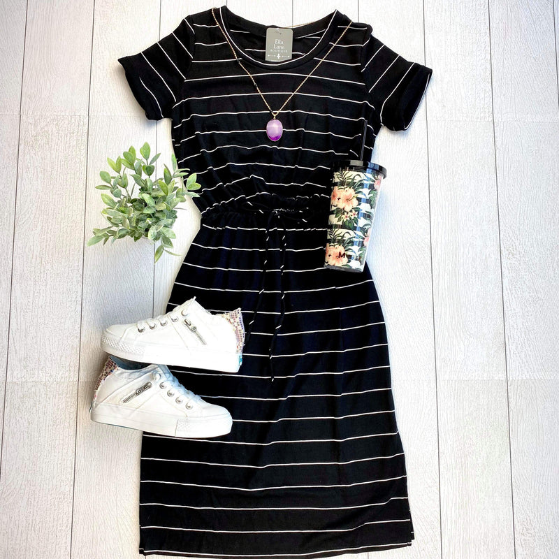 Black Striped Knit Dress