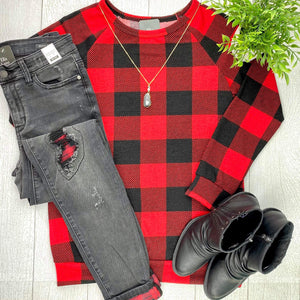 Buffalo Plaid Banded Bottom Top FINAL SALE