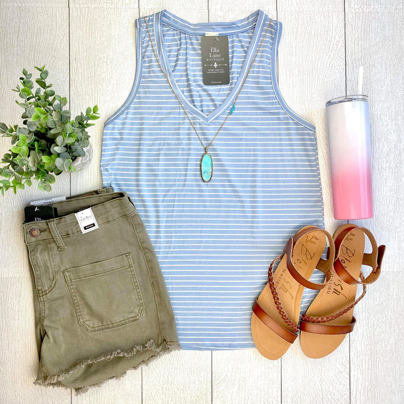 Striped V-Neck Top - Light Blue/White