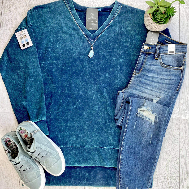 Mineral Wash Long Sleeve Top - Teal Blue