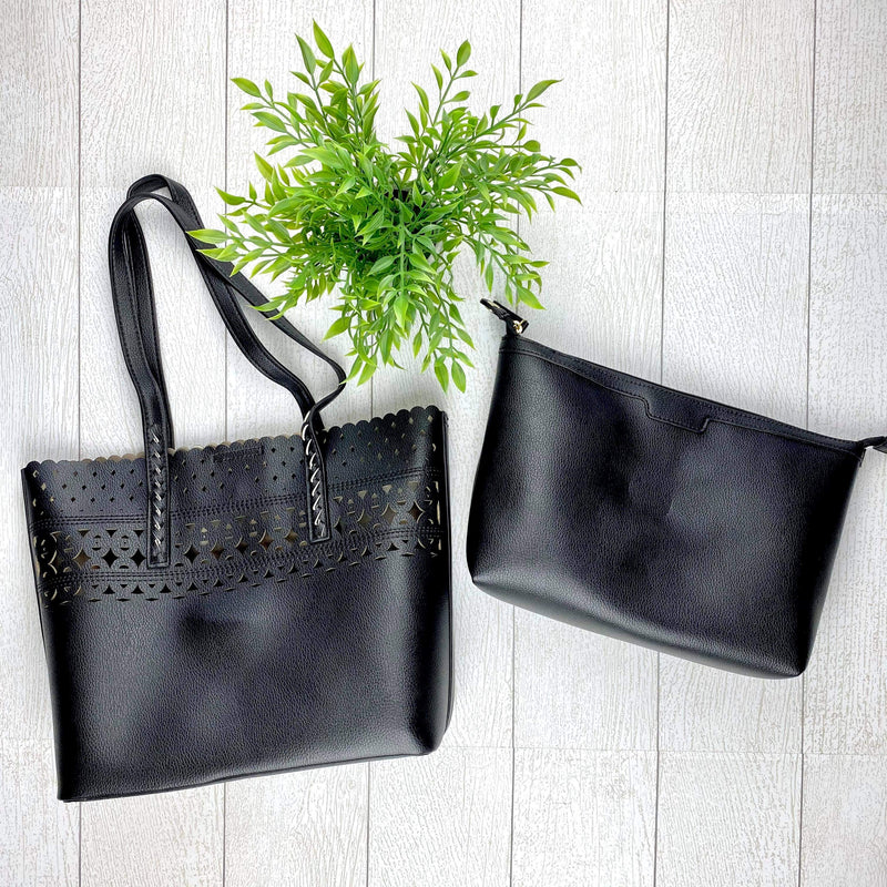 Eyelet Tote Purse - Black