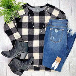 Black and Ivory Plaid Banded Bottom Top FINAL SALE