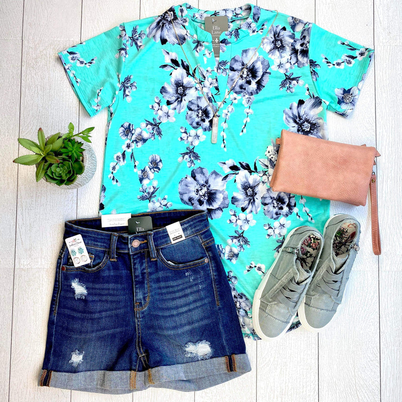 Mint Floral Short Sleeve Top