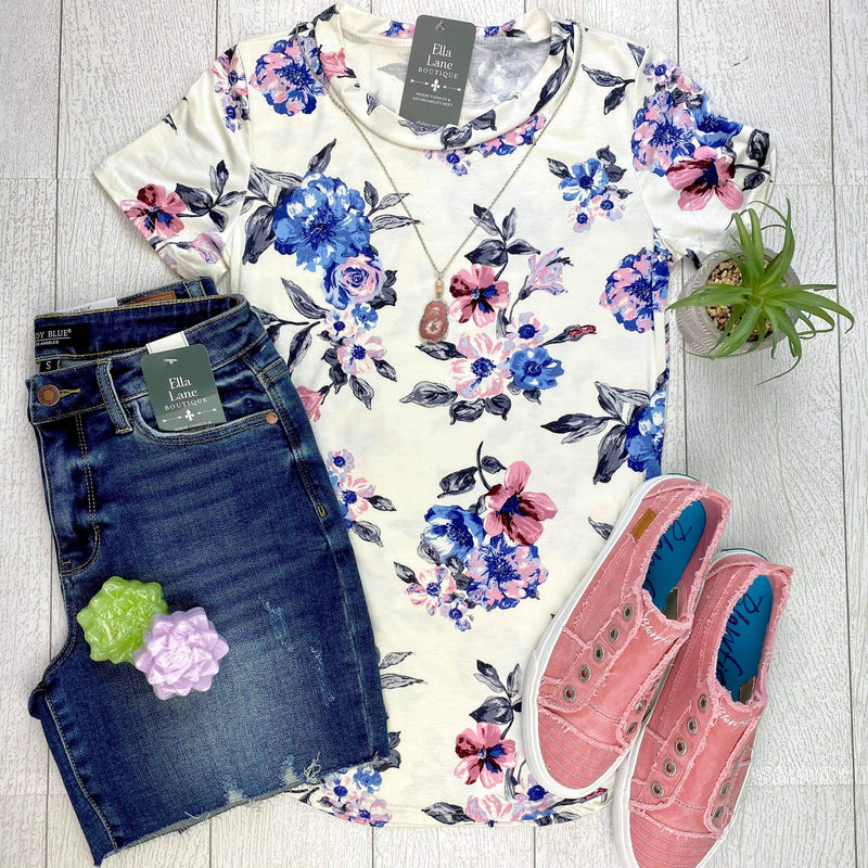 Floral Short Sleeve Top - Ivory/Blue