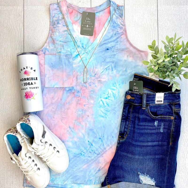 Tie Dye Pocket V Neck Tank - Pink/Blue