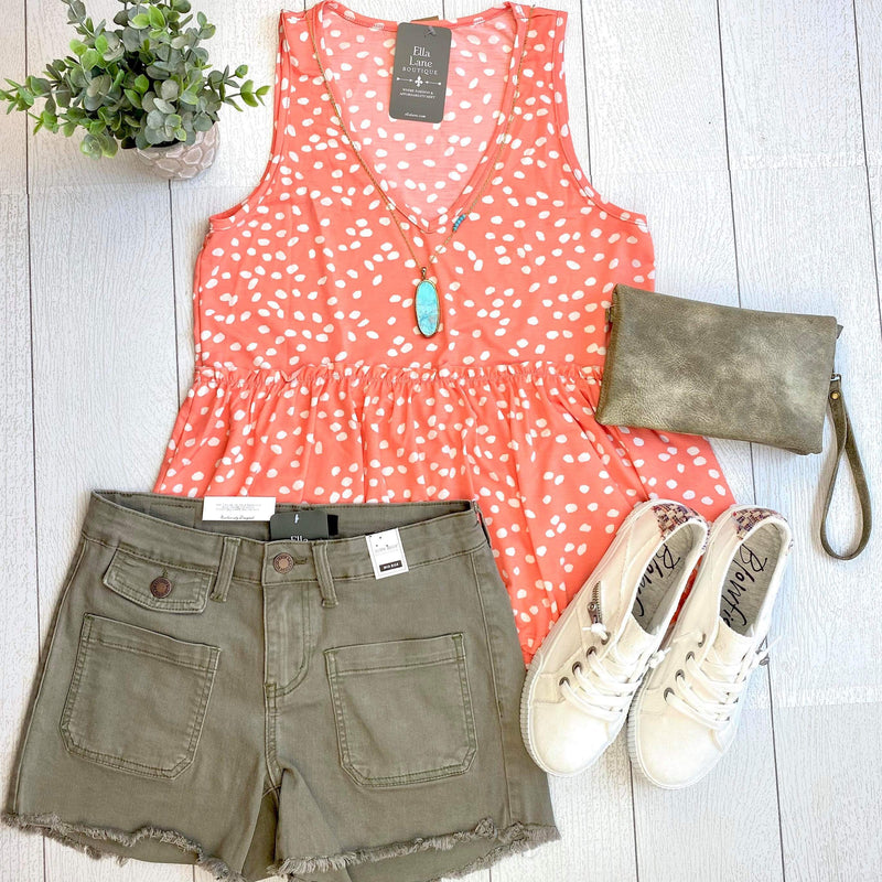 Spotted Peplum Top - Coral