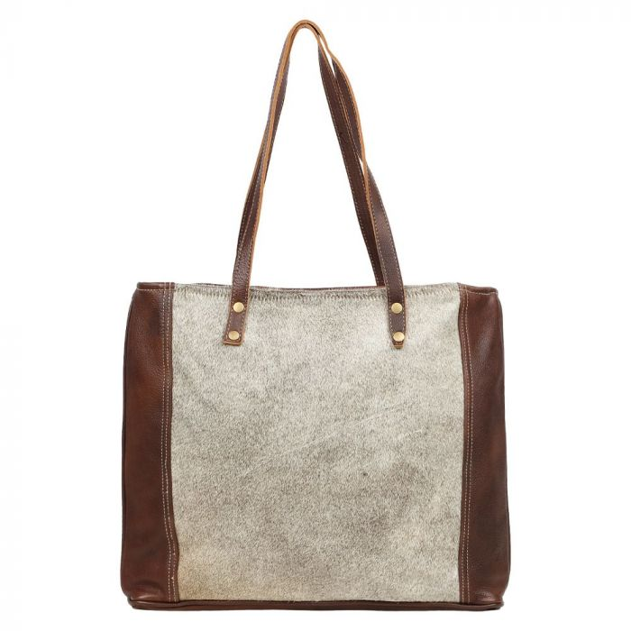Silvered Leather Tote Bag