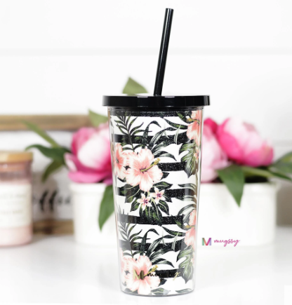 Tropical Floral and Stripes Tumbler