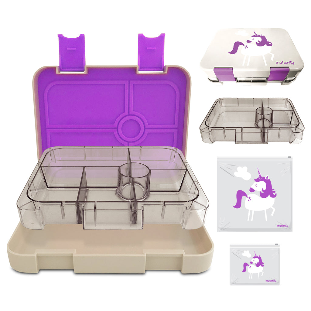 Bento Lunchbox and Reusable Slidelock Bag Combo - Unicorn - My Family Kids Brand