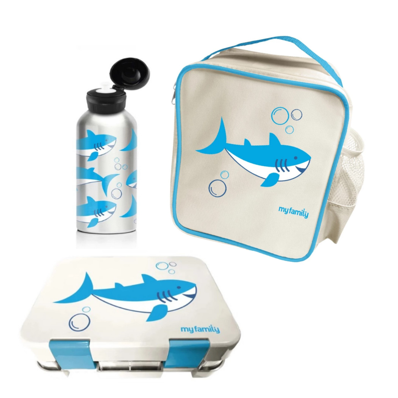 My Family School Lunch Combo Shark [Super Bento] - My Family Kids Brand