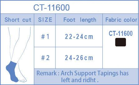 Short Arch Support Socks Sizing Chart