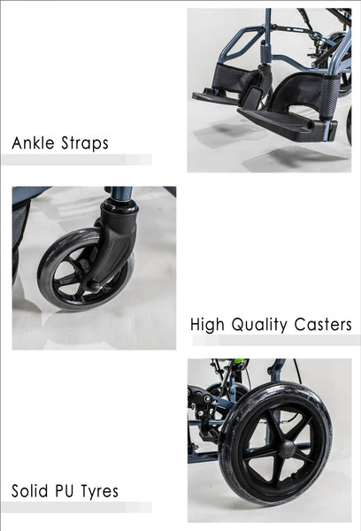 Ankle Straps, High Quality Casters, Solid PU Tyres