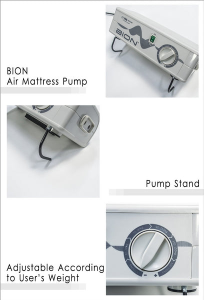 BION Air Mattress Pump with Stand and Adjustable Pressure According to User's Weight
