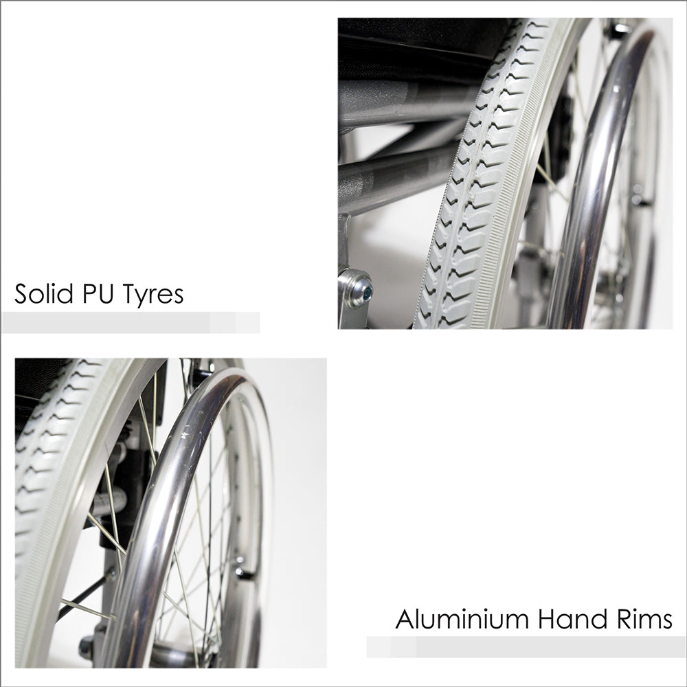 Solid PU Tyres and Aluminium Hand Rims