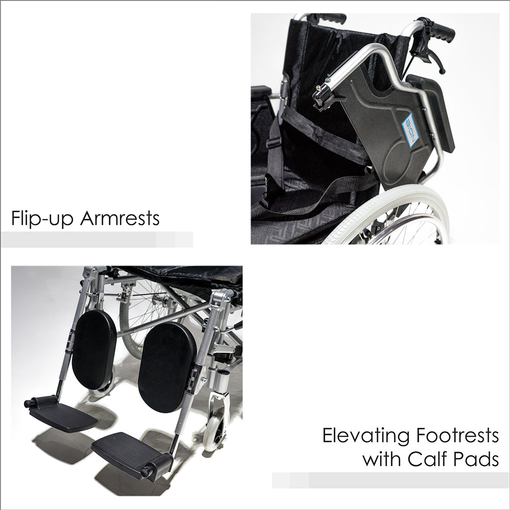 Flip-up Armrests and Elevating Footrests with Calf Pads