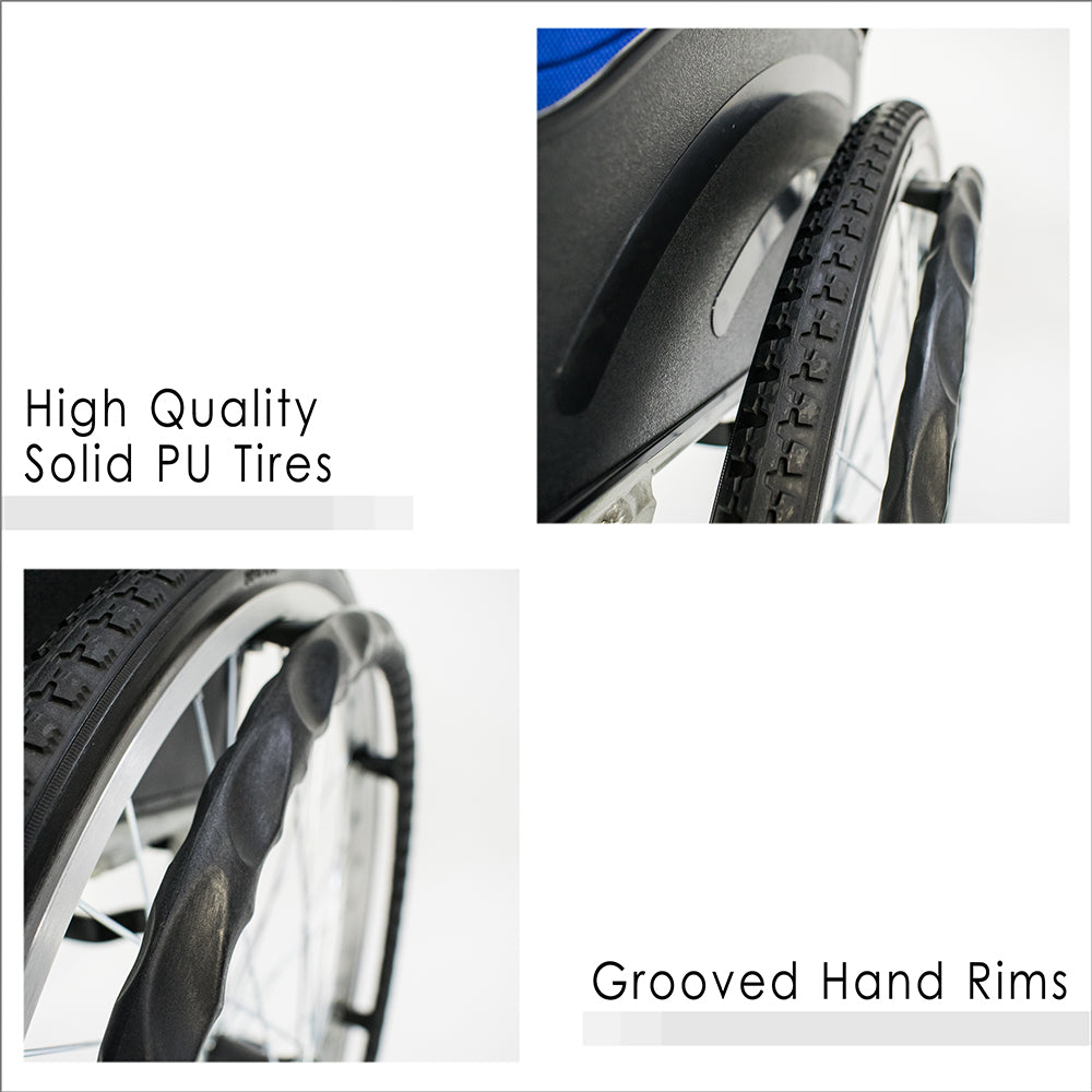 High Quality Solid PU Tires and Grooved Hand Rims