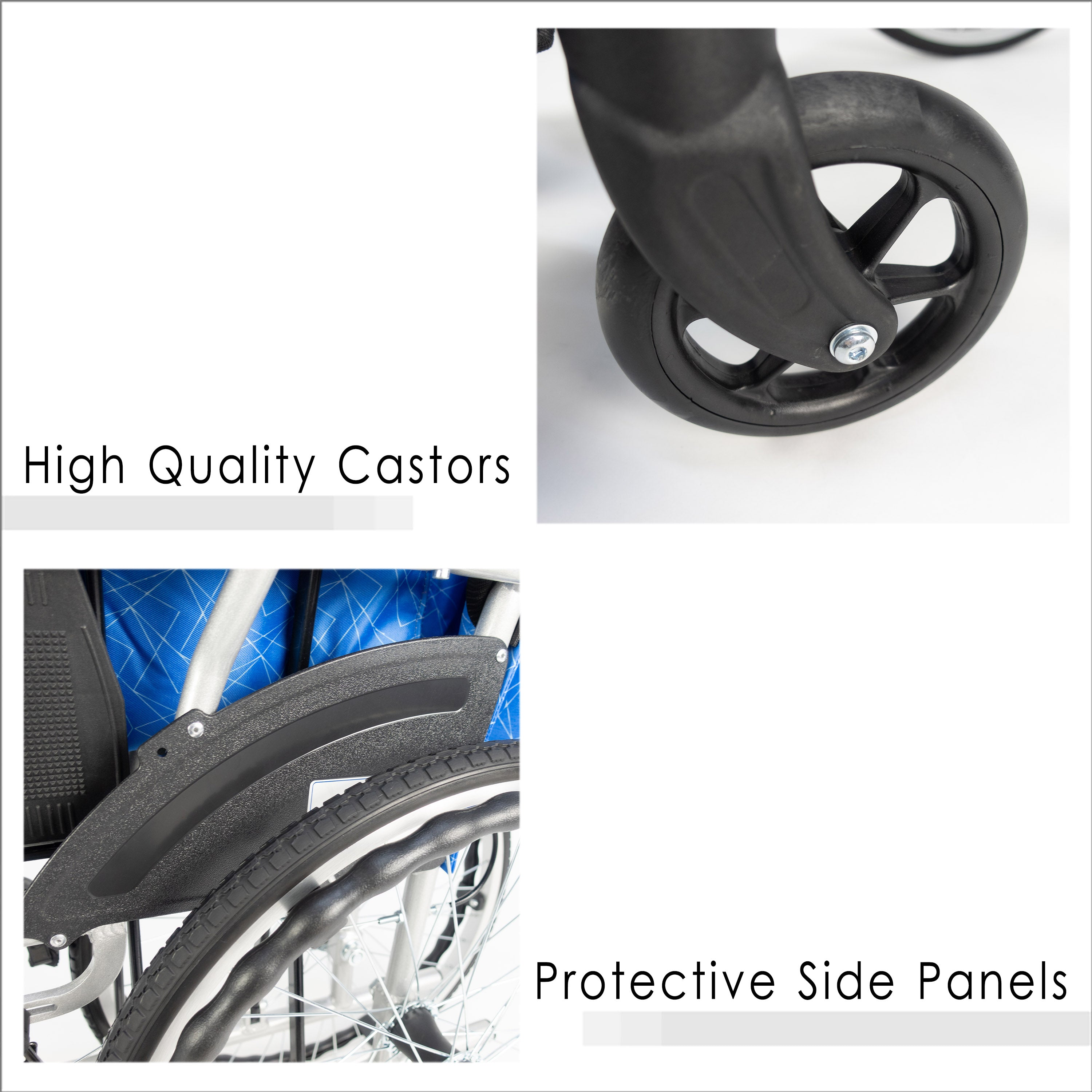 High Quality Castors and Protective Side Panels