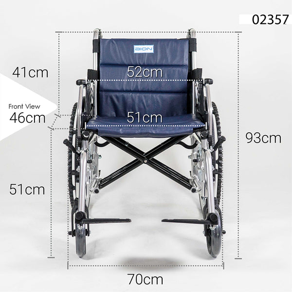 Wheelchair Front Profile with Specifications
