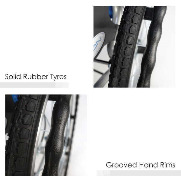 Grooved Hand Rims & Solid Rubber Tyres