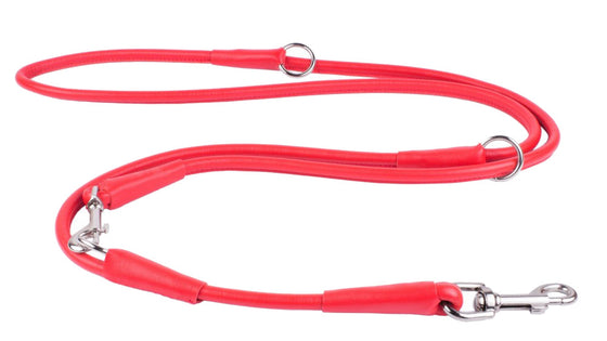 Rolled Leather Multi Leash - Red