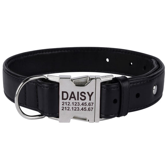 Custom Side Release Leather Collar - Black