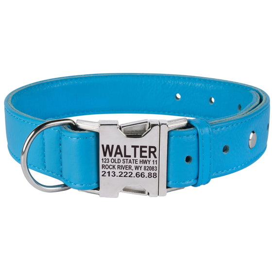Custom Side Release Leather Collar - Blue