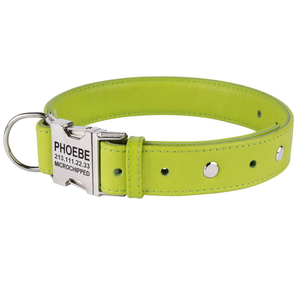 Custom Side Release Leather Collar - Lime
