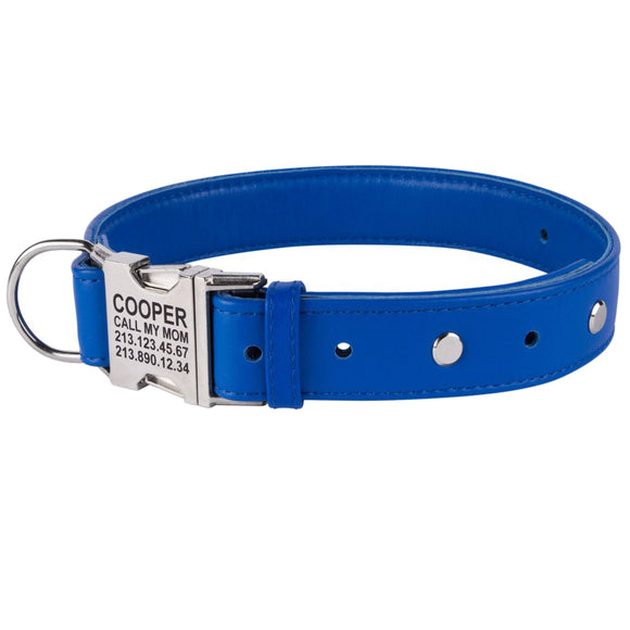 Custom Side Release Leather Collar - Cobalt