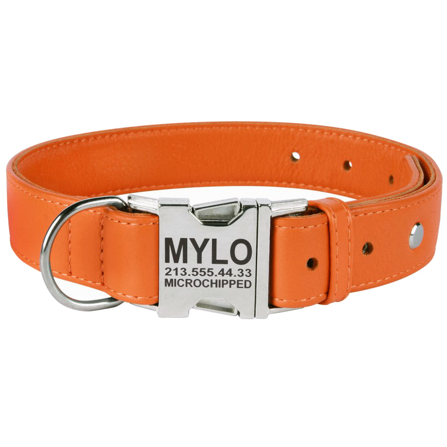 Custom Side Release Leather Collar - Orange