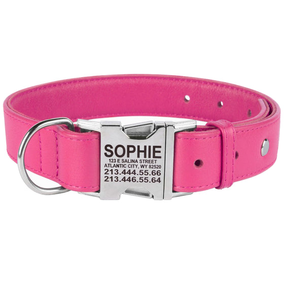 Custom Side Release Leather Collar - Pink