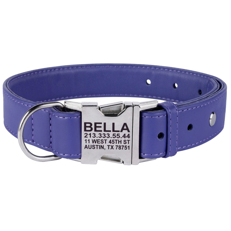 Custom Side Release Leather Collar - Purple