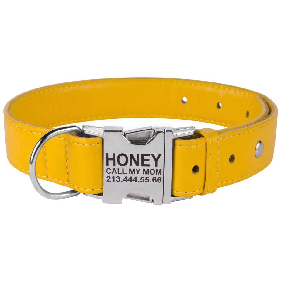 Custom Side Release Leather Collar - Yellow