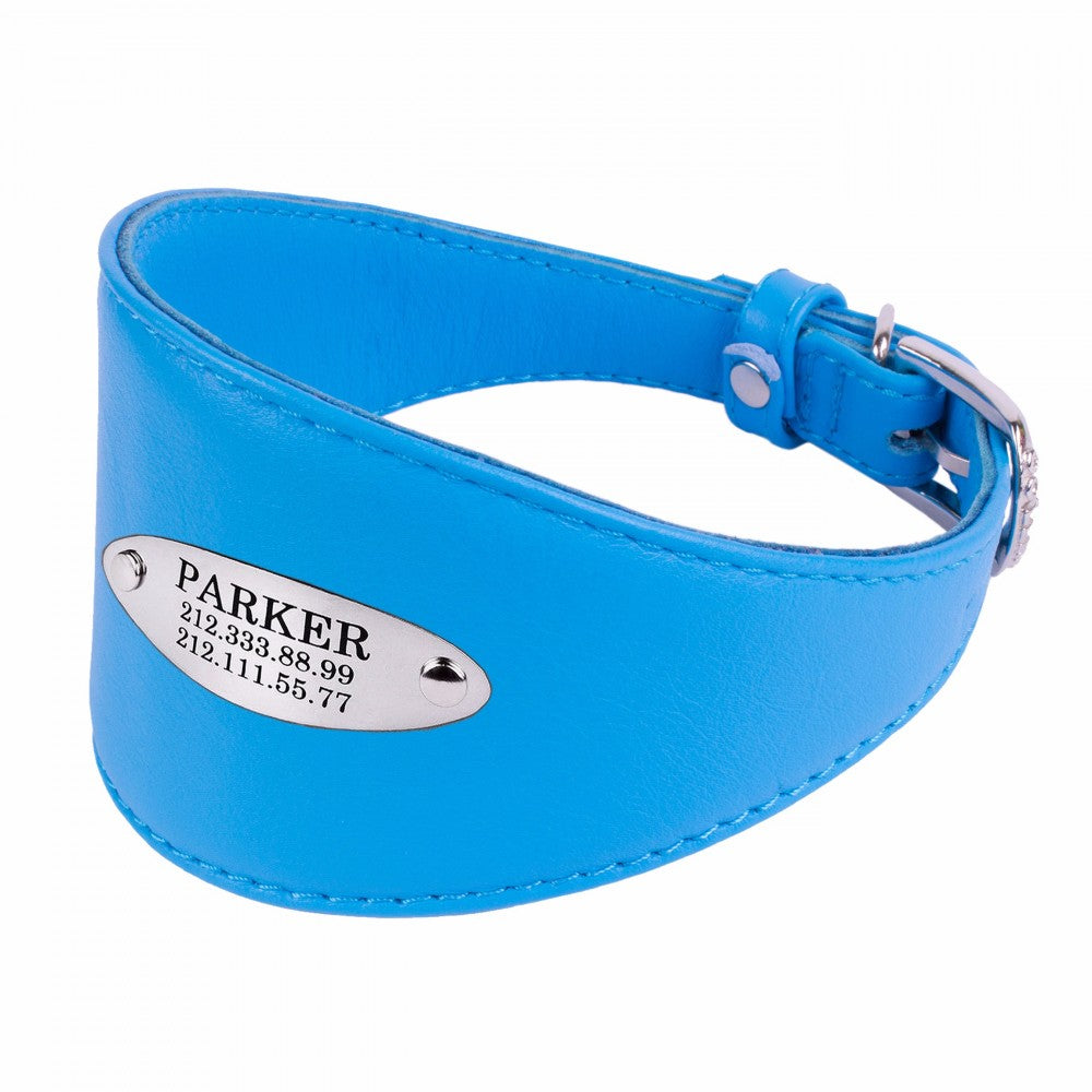 Custom Leather Hound Collar - Blue