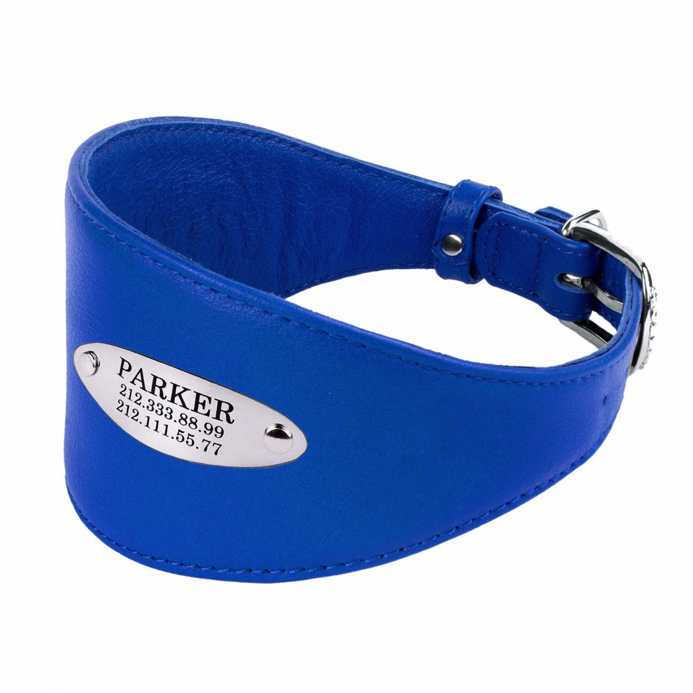 Custom Leather Hound Collar - Cobalt