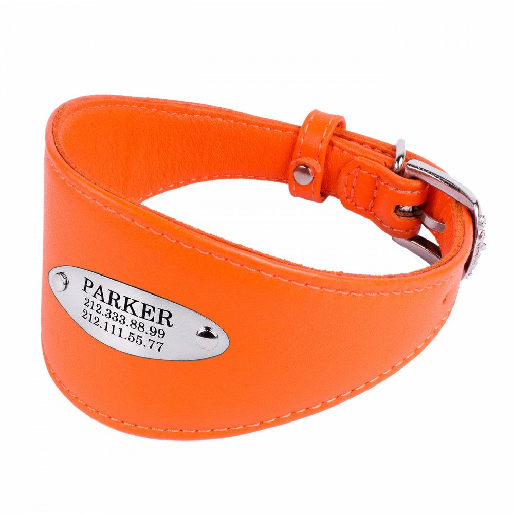 Custom Leather Hound Collar - Orange