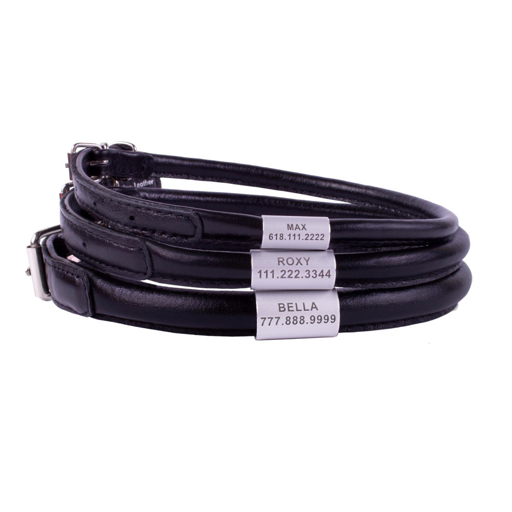 Custom Rolled Leather Collar - Black