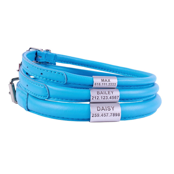 Custom Rolled Leather Collar - Blue