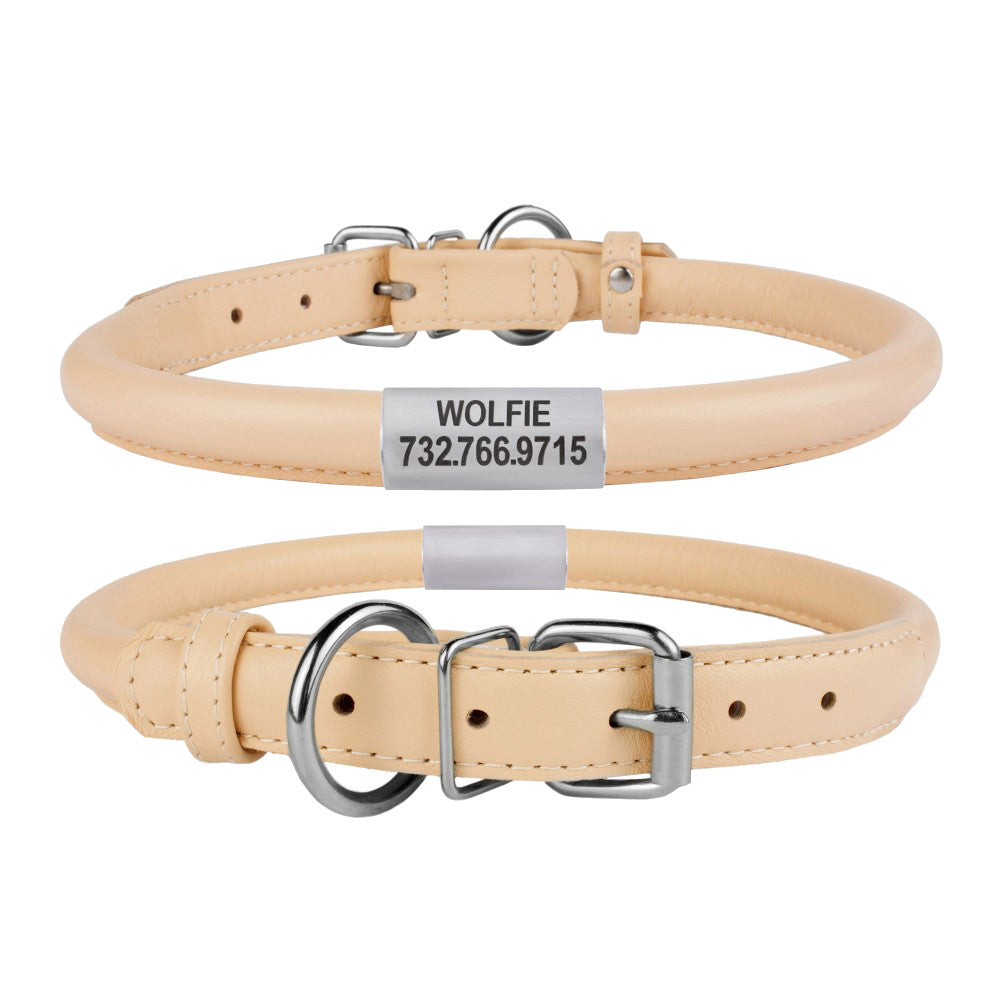 Custom Rolled Leather Collar - Beige