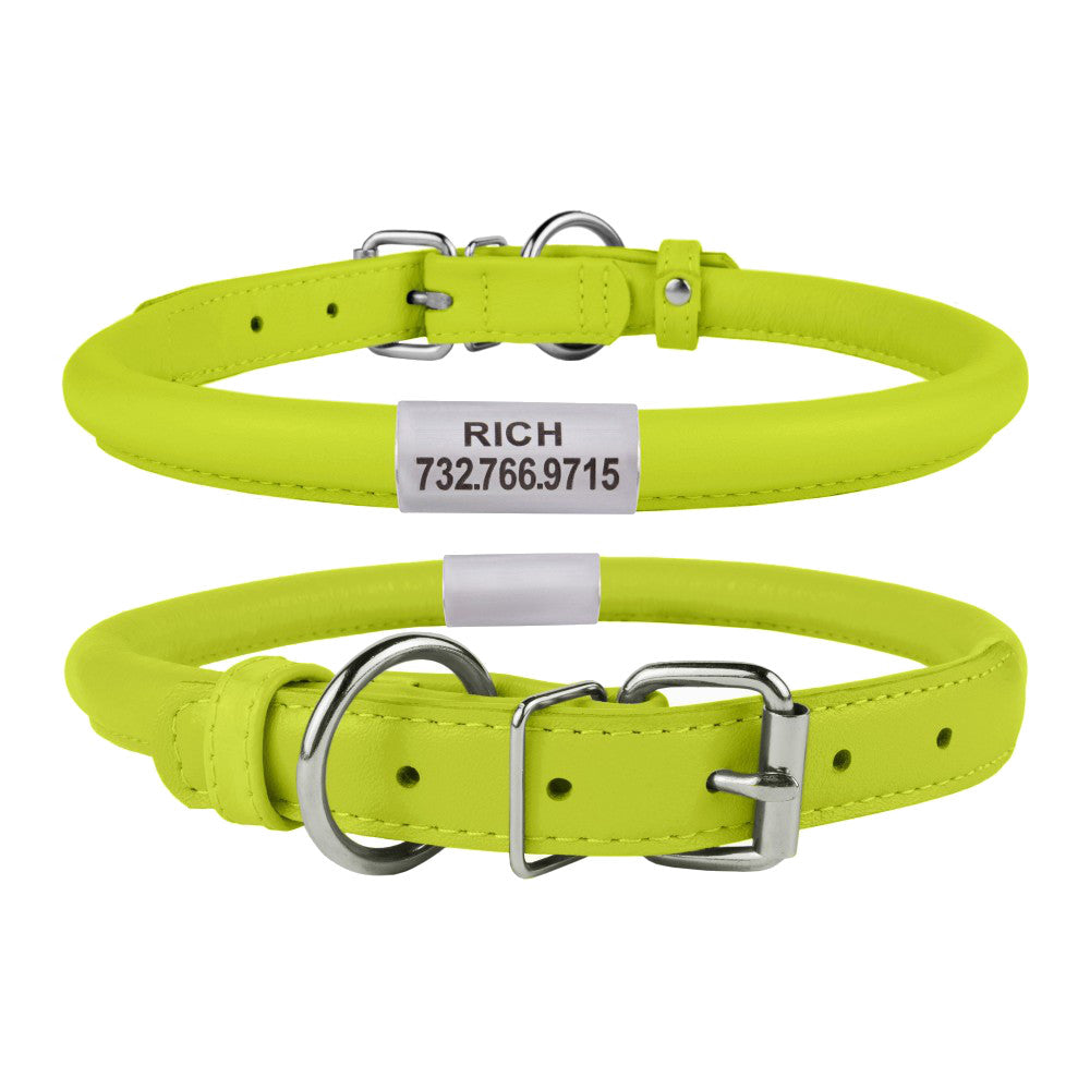 Custom Rolled Leather Collar - Lime