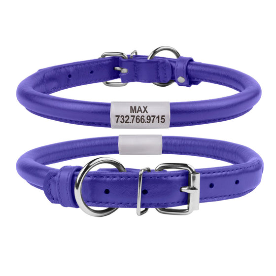 Custom Rolled Leather Collar - Purple