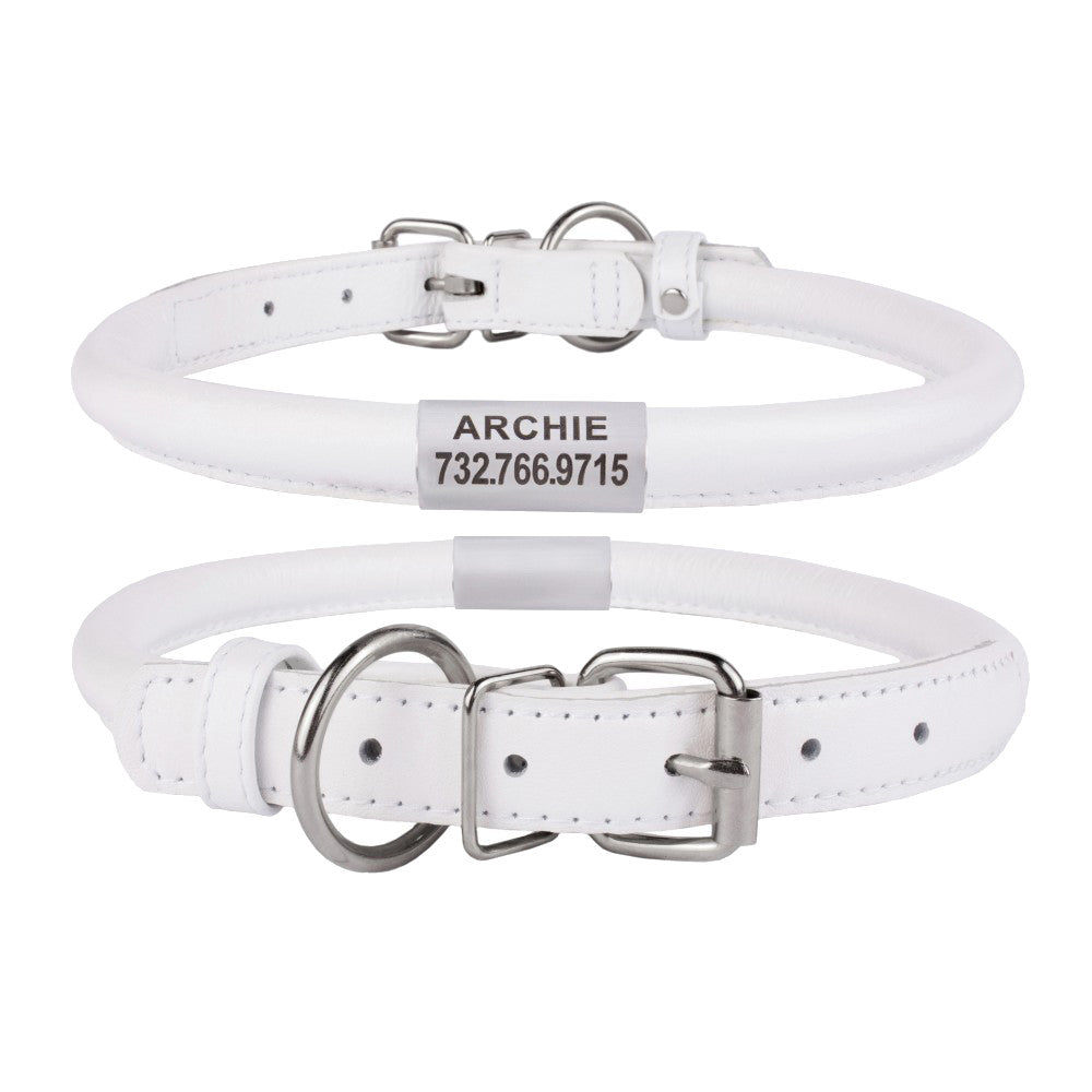 Custom Rolled Leather Collar - White