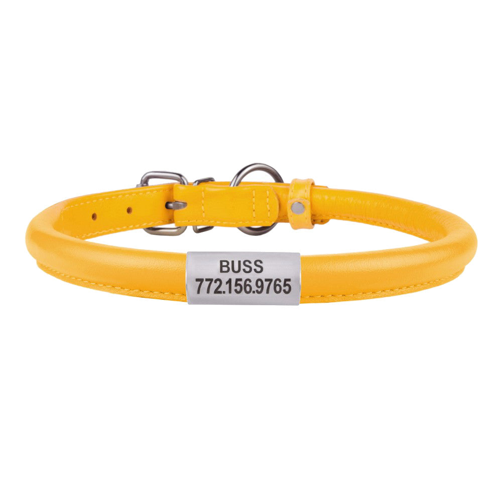 Custom Rolled Leather Collar - Yellow