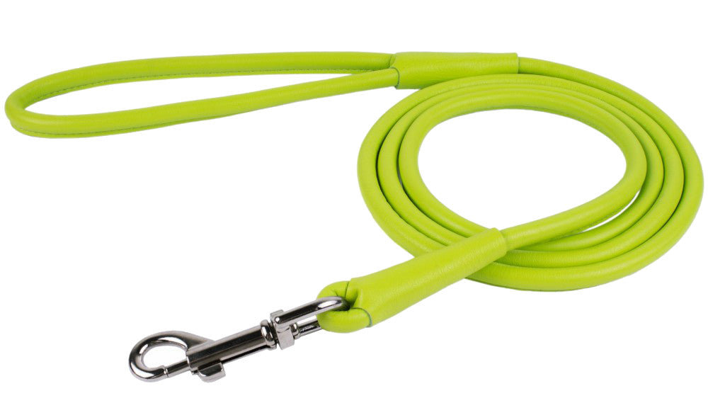 Rolled Leather Leash - Lime