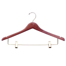 "H300 Series - 17"" Wood Suit Hanger with Clips"